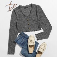 Lettuce Edge Button Front Rib-knit Crop Tee