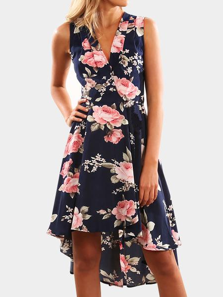 Yoins Navy Random Floral Print V-neck Sleeveless Irregular Hem Dress