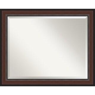 Harvard Walnut Bathroom Vanity Wall Mirror (Large (33 x 27-inch))