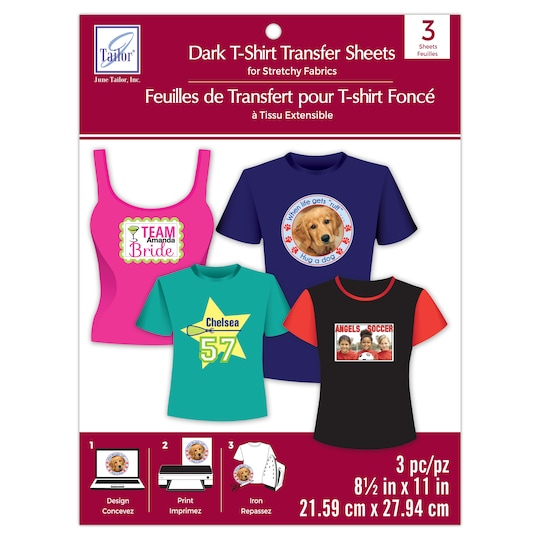 June Tailor® T-Shirt Transfer Sheets For Stretchy Fabrics in Dark   8.5