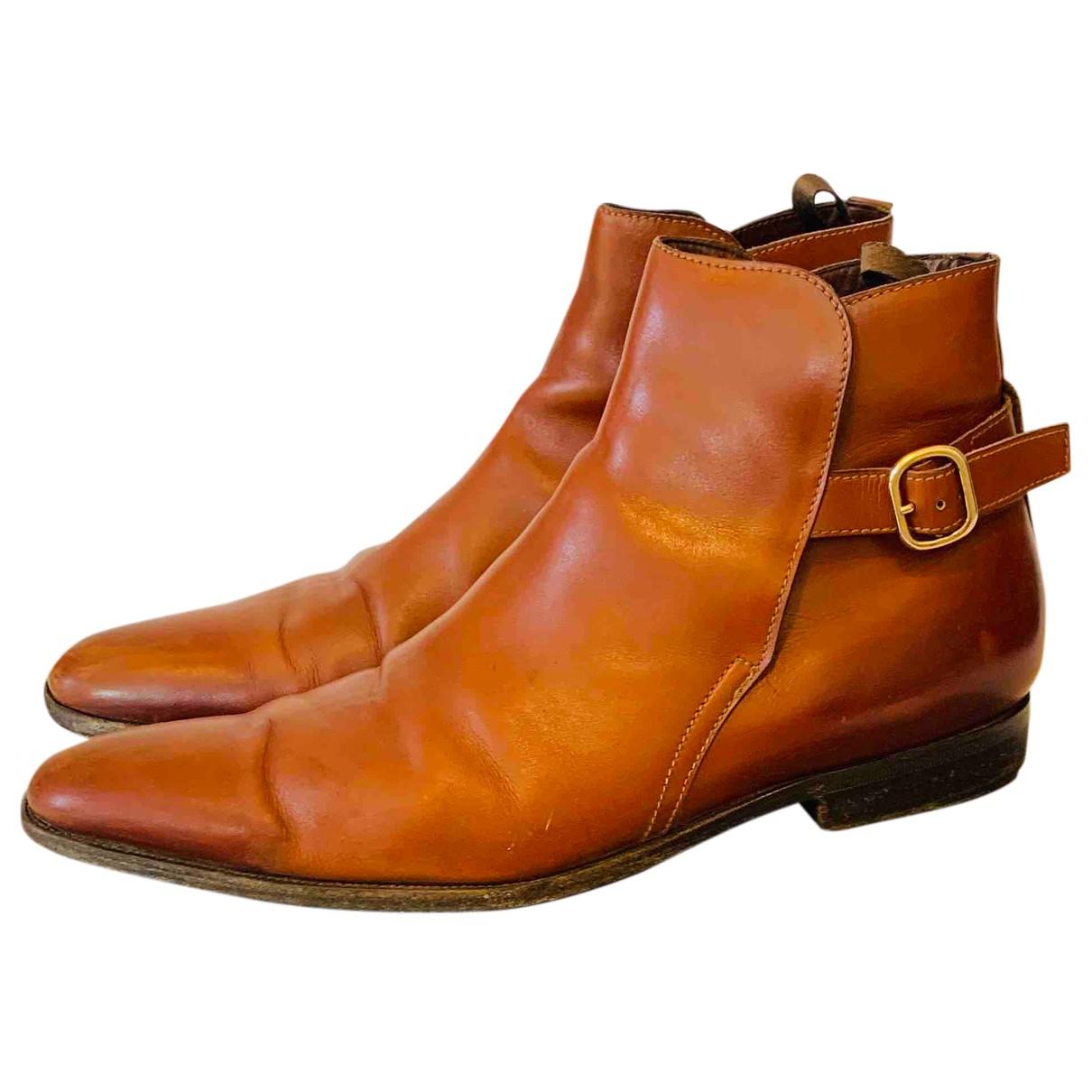 Miu Miu - Bottes.Boots   pour homme en cuir - marron