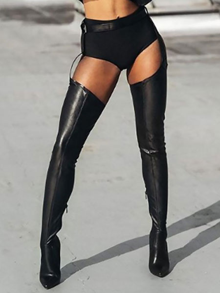 Milanoo Womens Black Sexy Thigh Boots Pointed Toe Belted Boots High Heel for Rave Club