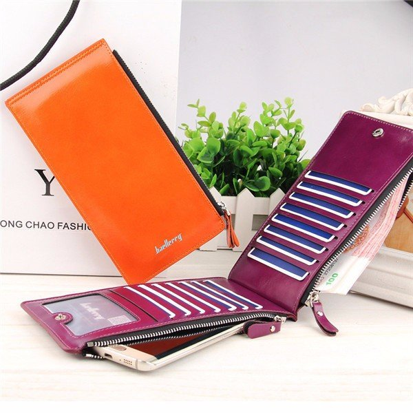 Universal Ultrathin PU Leather Vertic Long Wallet Purse 15 Card Slots Multi-Slots Phone Bags