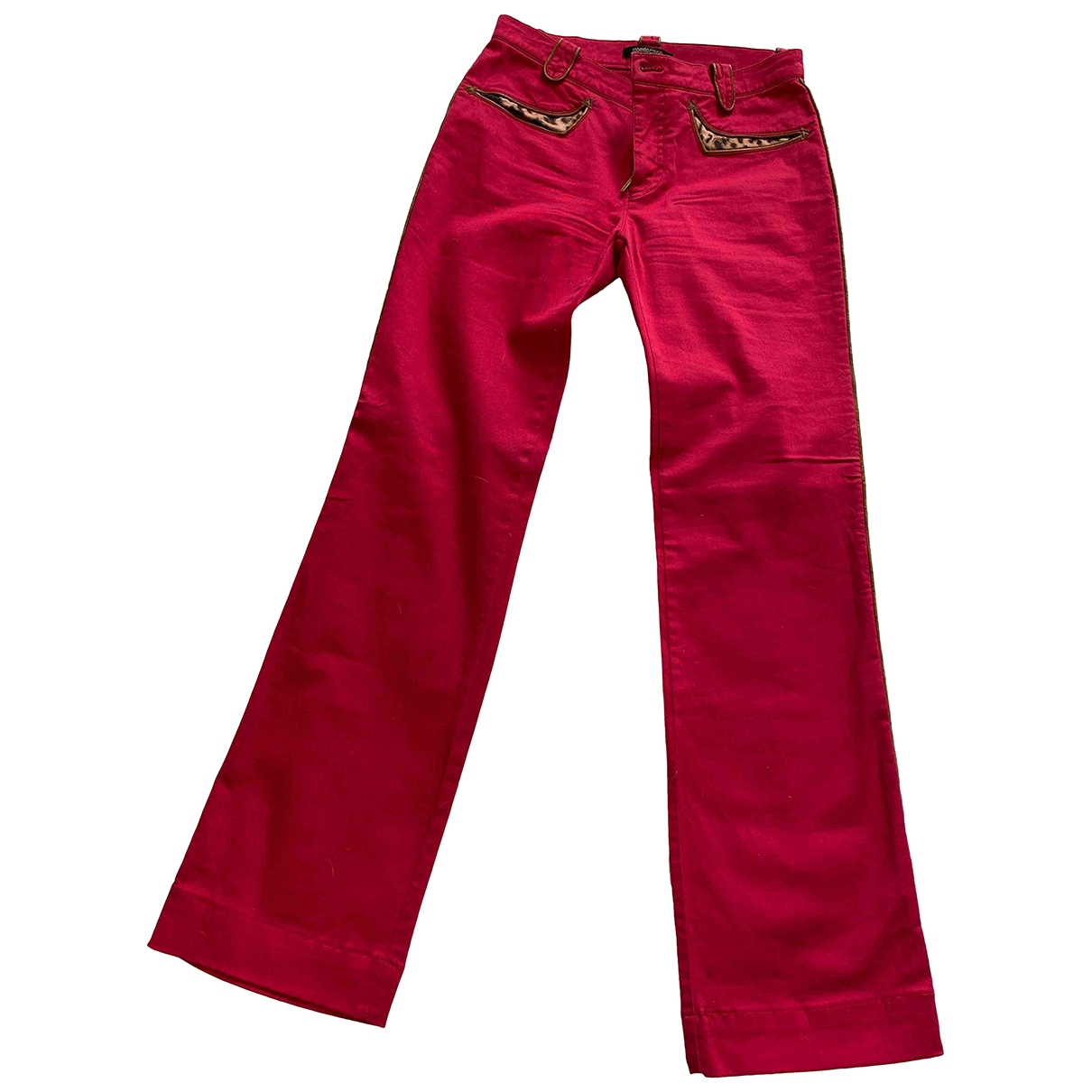 Roberto Cavalli \N Red Cotton Trousers for Women 42 IT