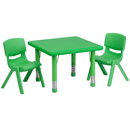 YUYCX Collection YU-YCX-0023-2-SQR-TBL-GREEN-R-GG Kids Activity Table Set with 2 Stackable Chairs  Adjustable Height Steel Legs  Safety Rounded