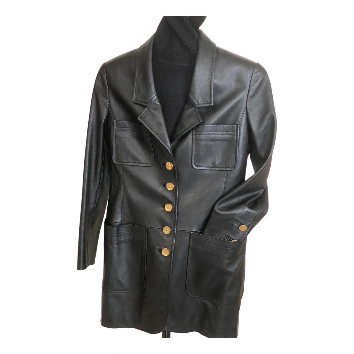 Chanel - Veste   pour femme en cuir - noir