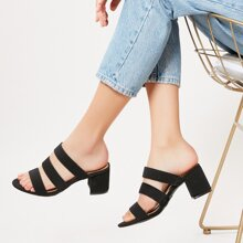 Schwarz Einfarbig Sandalen