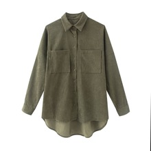 Plus Double Pocket Dip Hem Corduroy Blouse