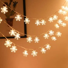 1pc String Light With 10pcs Snowflake Shaped Bulb