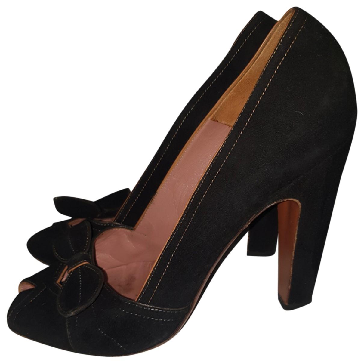 Alaia - Escarpins   pour femme en suede - noir