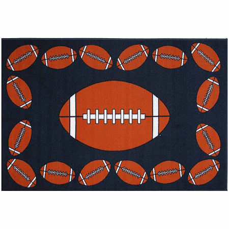 Football Time Rectangular Indoor Rugs, One Size , Black