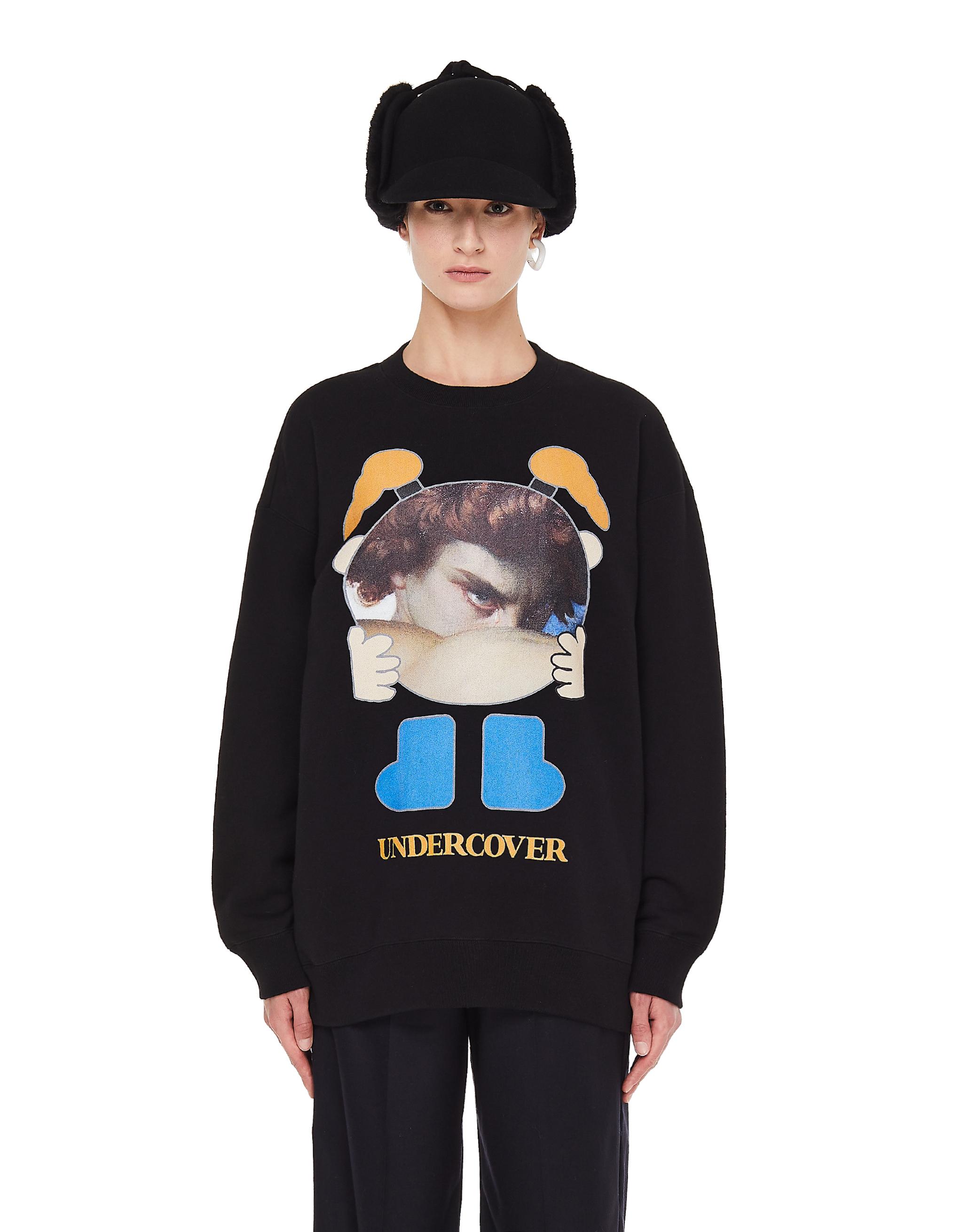 Undercover Black Cotton Printed Sweatshirt
