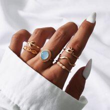 6 Stuecke Ring mit Kunstperlen Dekor