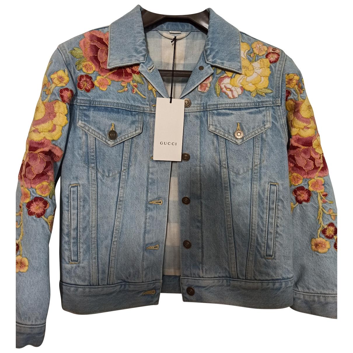 Gucci - Veste   pour femme en coton - bleu