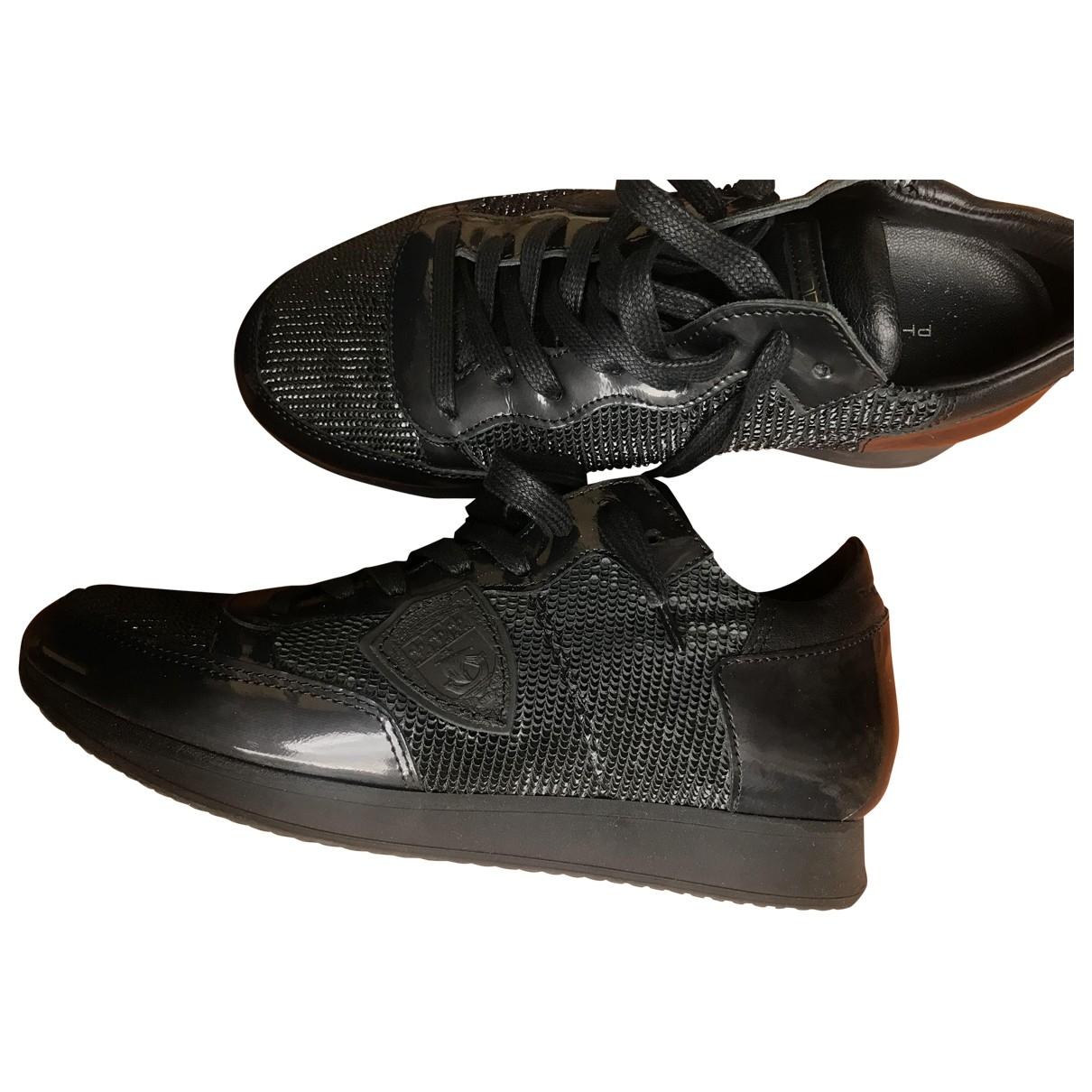 Philippe Model - Baskets   pour femme en cuir verni - noir