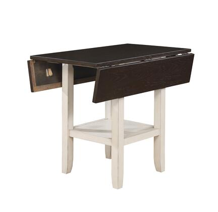 BM188324 Dual Tone Solid Wood Counter Height Table with Bottom Shelve  Brown and