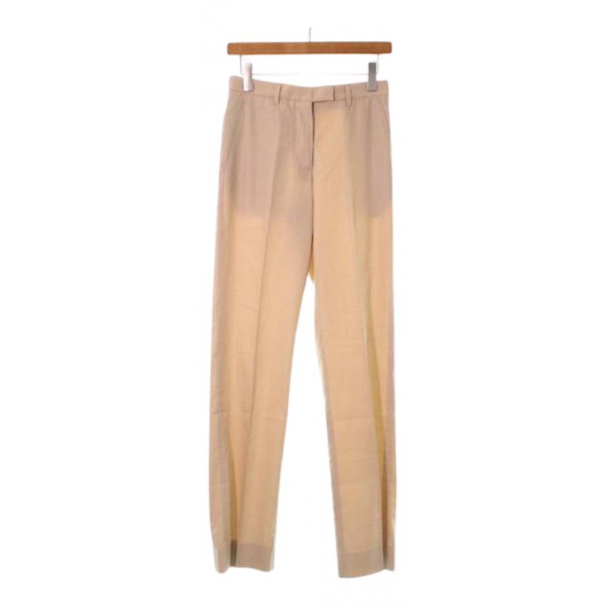 Maison Martin Margiela N Beige Cotton Trousers for Women 36 IT
