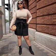 Plus Paperbag Waist Slant Pocket Self Belted Skirt