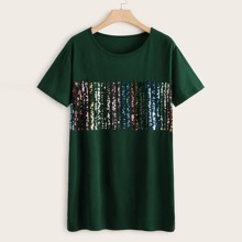 Plus Contrast Colorful Sequin Tee