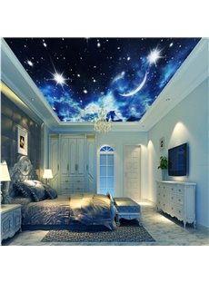 3D Galaxy Printed PVC Waterproof Sturdy Eco-friendly Self-Adhesive Ceiling Murals