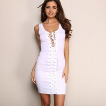 Lace Up Detail Cut-out Bodycon Dress