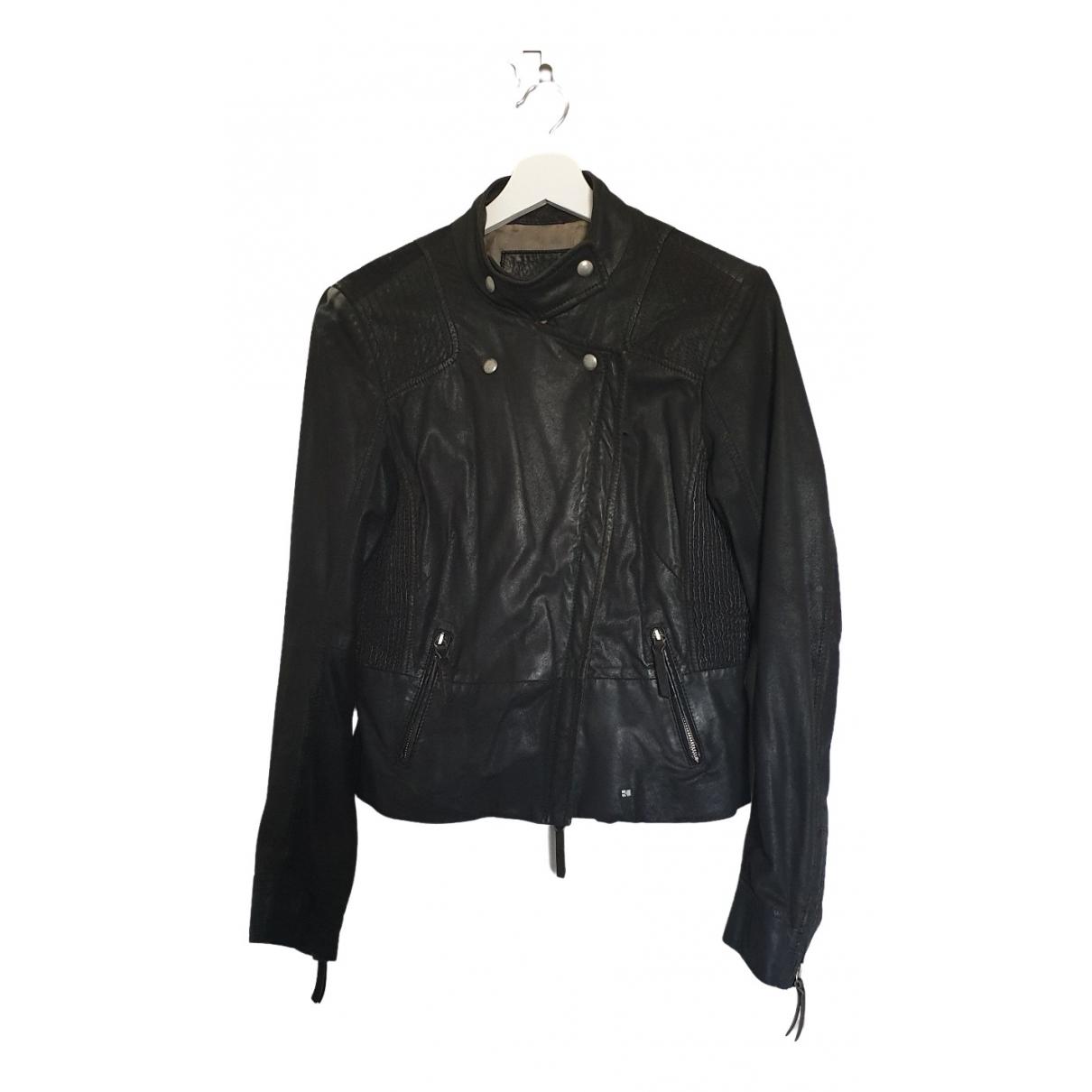 Boss Orange \N Black Leather Leather jacket for Women 40 FR