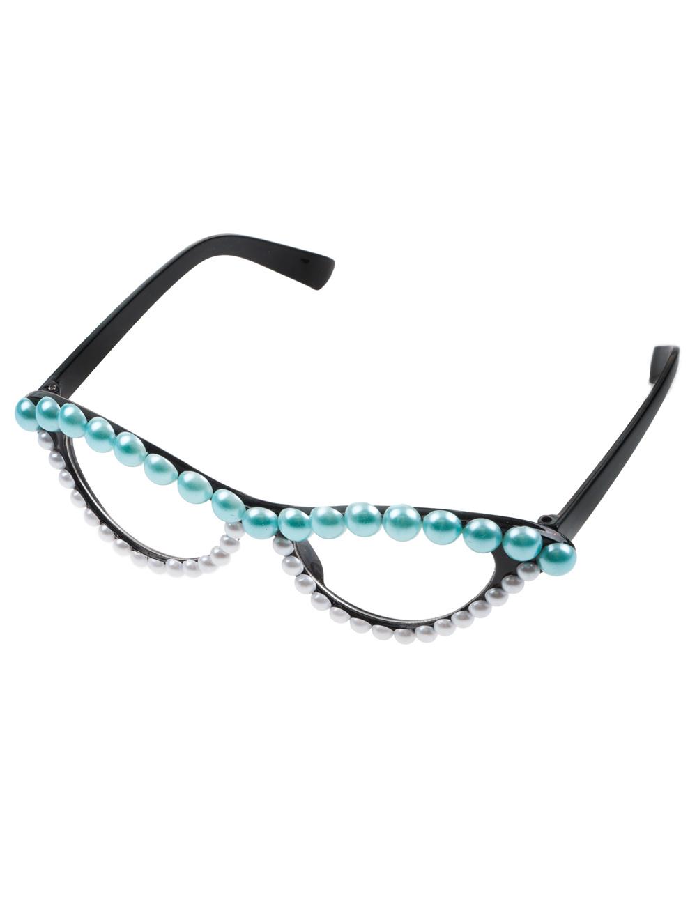 Kostuemzubehor Brille mit Perlen tuerkis/weiss