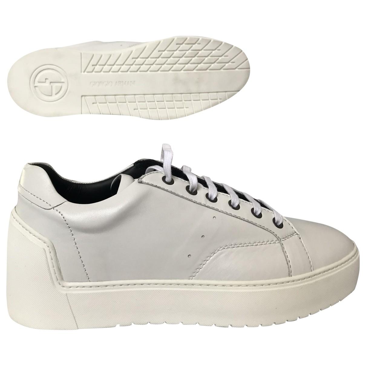 Giorgio Armani - Baskets   pour homme en cuir - blanc
