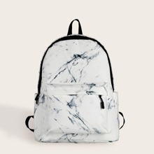 Marble Print Pocket Front Backpack