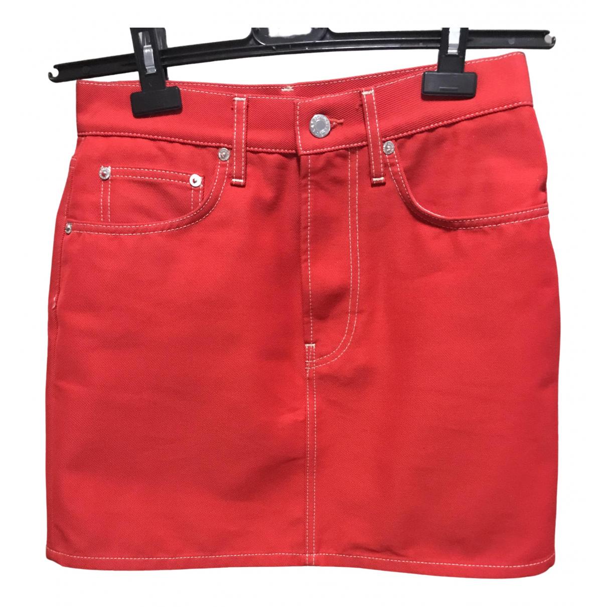 Helmut Lang - Jupe   pour femme en coton - rouge