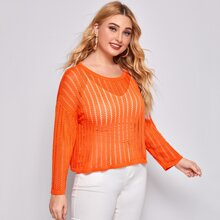 Plus Solid Pointelle Knit Drop Shoulder Sweater