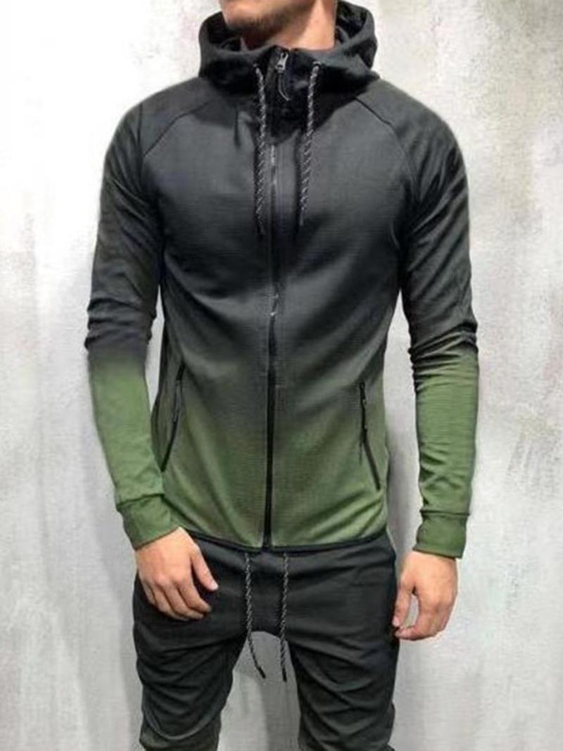Ericdress Cardigan Gradient Patchwork Zipper Men's Casual Hoodies