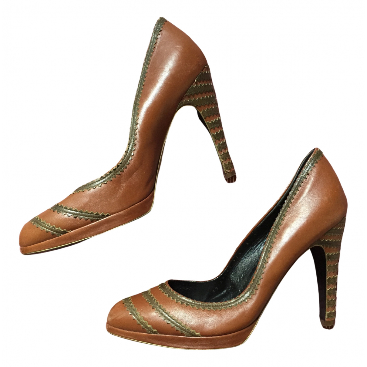 Salvatore Ferragamo N Brown Leather Heels for Women 8.5 UK