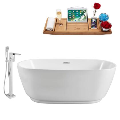 NH560-100 Faucet and Tub Set with 59 Freestanding Oval Shaped Tub  Acrylic and Fiberglass Tub Construction  Chrome Polished Drain Assembly  3.8cm.