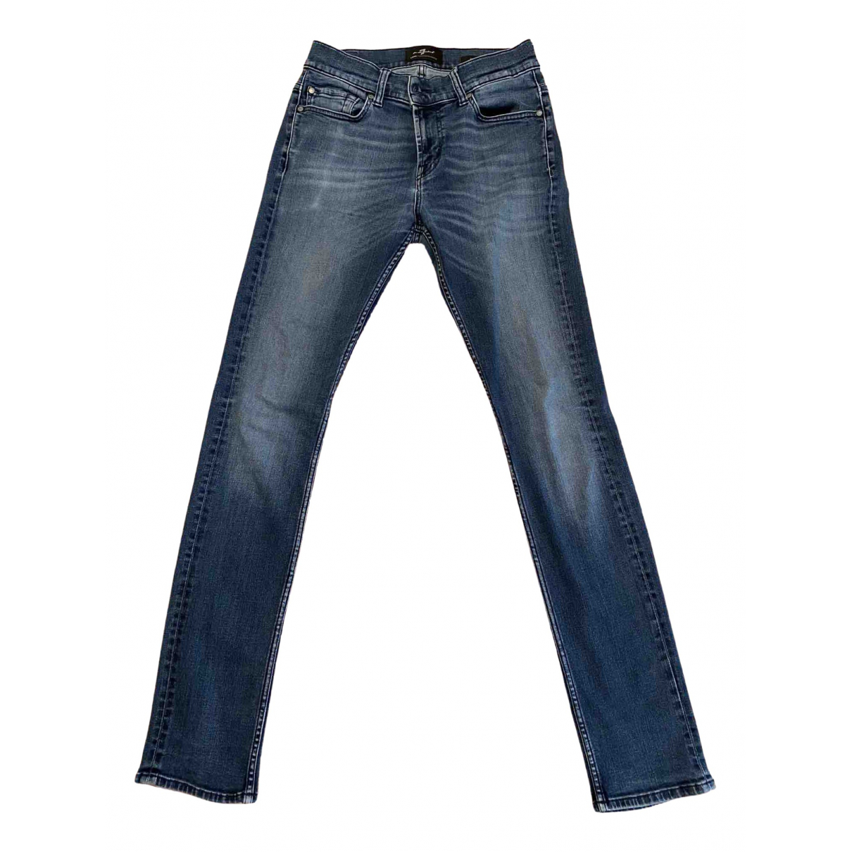 7 For All Mankind \N Blue Cotton - elasthane Jeans for Men 30 US