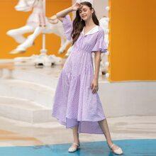 A Linie Kleid mit Karo Muster und asymmetrischem Schosschen