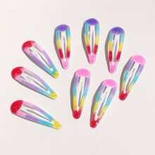 9 piezas horquilla de niñas con patron de arcoiris