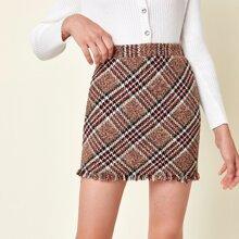Faldas para niñas Cremallera A cuadros Preppy
