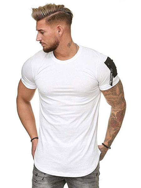 Milanoo Men Casual T Shirt Zipper Shoulder Pocket Short Sleeve T Shirt