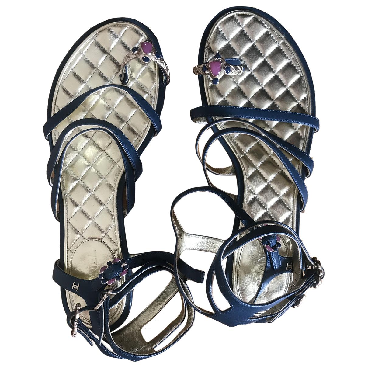 Chanel \N Sandalen in  Blau Leder