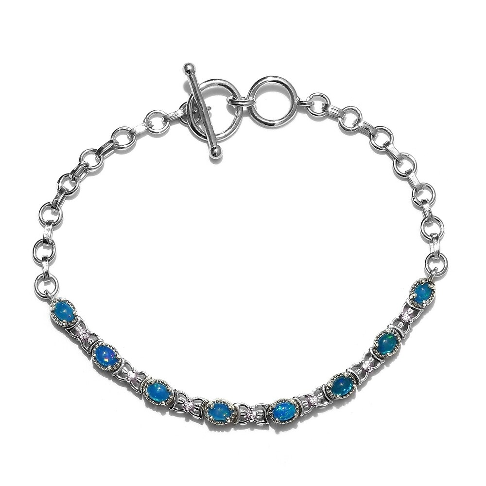 925 Sterling Silver Platinum Plated Oval Opal Zircon Bracelet Engagement Wedding Anniversary Bridal Jewelry for Women Size 7.25 (Opal)