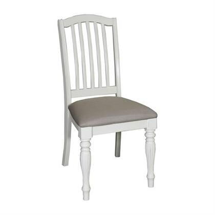 Cumberland Creek Collection 334-C1501S Side Chair with Consumer Friendly Assembly  Fluted Legs and Upholstered in Khaki in Nutmeg & White