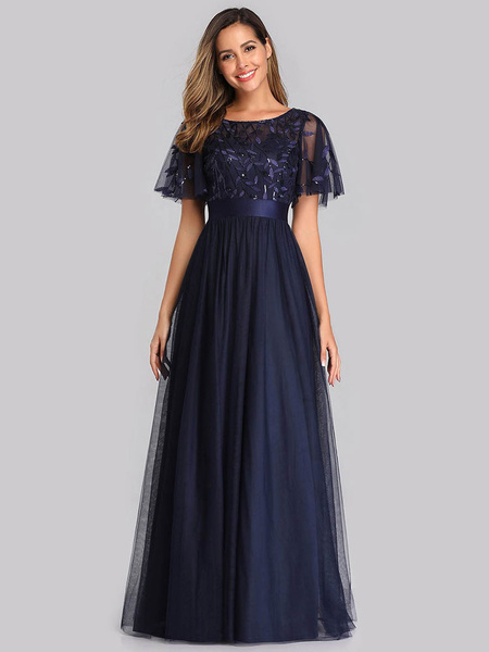 Milanoo Plus Size Prom Dress A Line Jewel Neck Chiffon Short Sleeves Floor Length Lace Party Dresses