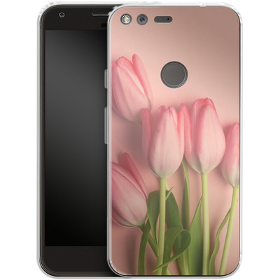 Google Pixel Silikon Handyhuelle - Pink Tulips von Joy StClaire