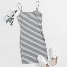 Striped Rib-knit Bodycon Dress