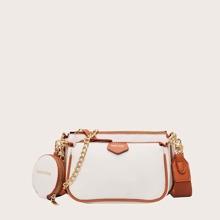 3pcs Contrast Trim Crossbody Bag With Purse