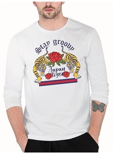 Tigers Roses Loose Model Long Sleeve Casual Style 3D T-Shirt