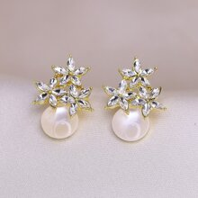 Rhinestone & Faux Pearl Decor Stud Earrings