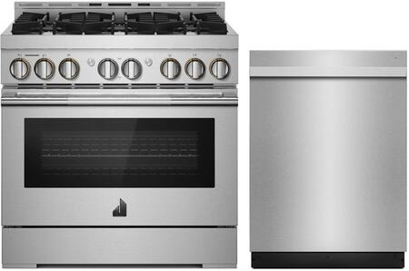 2 Piece Kitchen Appliances Package with JGRP436HL 36 Gas Range and JDTSS246GM 24 Built In Dishwasher in Stainless