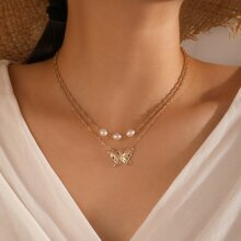 Butterfly Pendant Layered Necklace